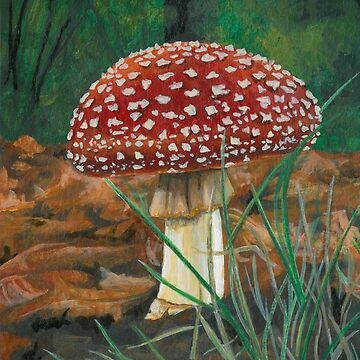 Red Cap Mushroom by brookedonlanart