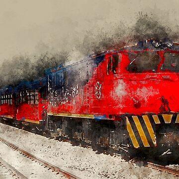 Vintage Train Watercolor Photo by rhamm