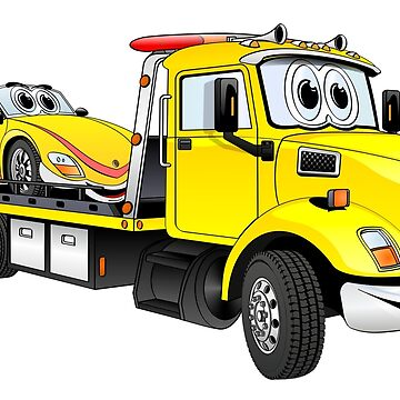 Yellow Tow Truck by Graphxpro