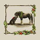 Christmas Newfie and Clydesdale  by Patricia Reeder Eubank
