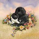 Newfie and baby Landseer  by Patricia Reeder Eubank