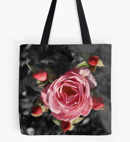 Rose and buds colour Selective blur Tote Bag