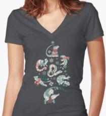 Camiseta entallada de cuello en V Invierno herps