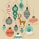Holiday Ornaments in Coral + Aqua by latheandquill