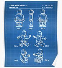 Lego Man Patent - Lego Bricks Art - Blueprint Poster