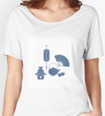 Chinese lantern, kettle, cups, fan, kagami mochi. Women's Relaxed Fit T-Shirt