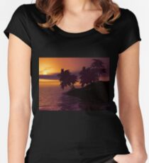 Caribbean island sunset Women's Fitted Scoop T-Shirt