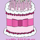 Happy Birthday Daughter, Pretty Cake with Candles. by KateTaylor