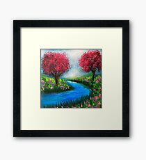 Pink Trees by the River. Framed Print