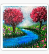 Pink Trees by the River. Sticker