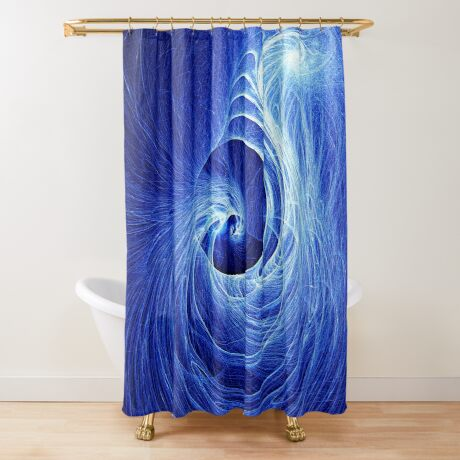 Abstract Full Moon Waves Shower Curtain
