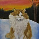 Cat in sunset by Inga Dalsegg