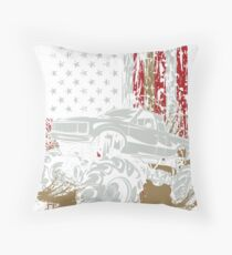 Mud Truck USA Flag Throw Pillow