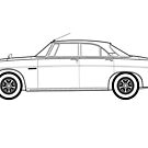 Rover P5B Classic Car Outline Artwork by RJWautographics