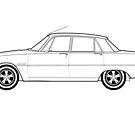 Rover P6 3500 V8 Classic Car Outline Artwork by RJWautographics