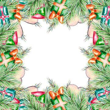 Christmas window, gifts, Christmas tree, hearts, cookies, holiday by ArtOlB