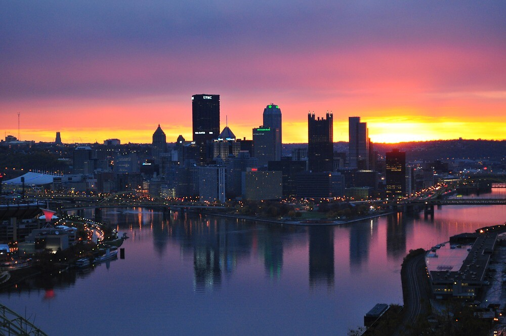 Quot Pittsburgh Skyline At Dawn Quot By Shadrags Redbubble
