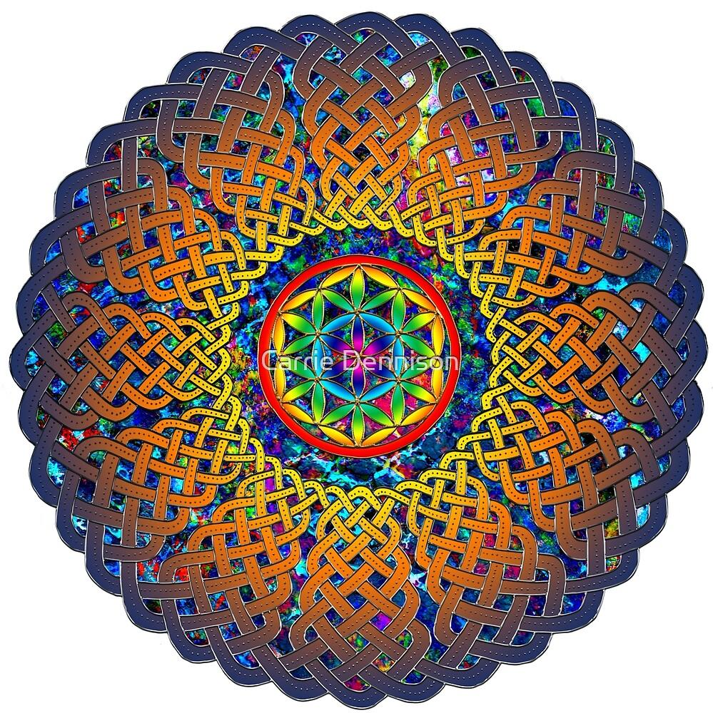 Flower of Life Celtic Mandala by Carrie Dennison