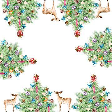 Christmas tree, deers, toys, pine, fir, gifts by ArtOlB