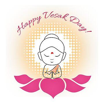 Buddha Purnima or vesak day- marking the birth of Lord Buddha with sacred lotus symbol by amelislam