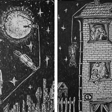 Ink Sketches - Three Lunatics and Graduation. 2012 by IgorPozdnyakov