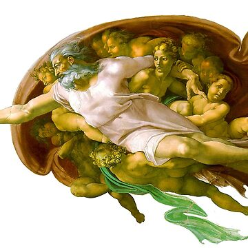 TOUCH OF GODS FINGER. The Creation of Adam by Michelangelo. On white by TOMSREDBUBBLE
