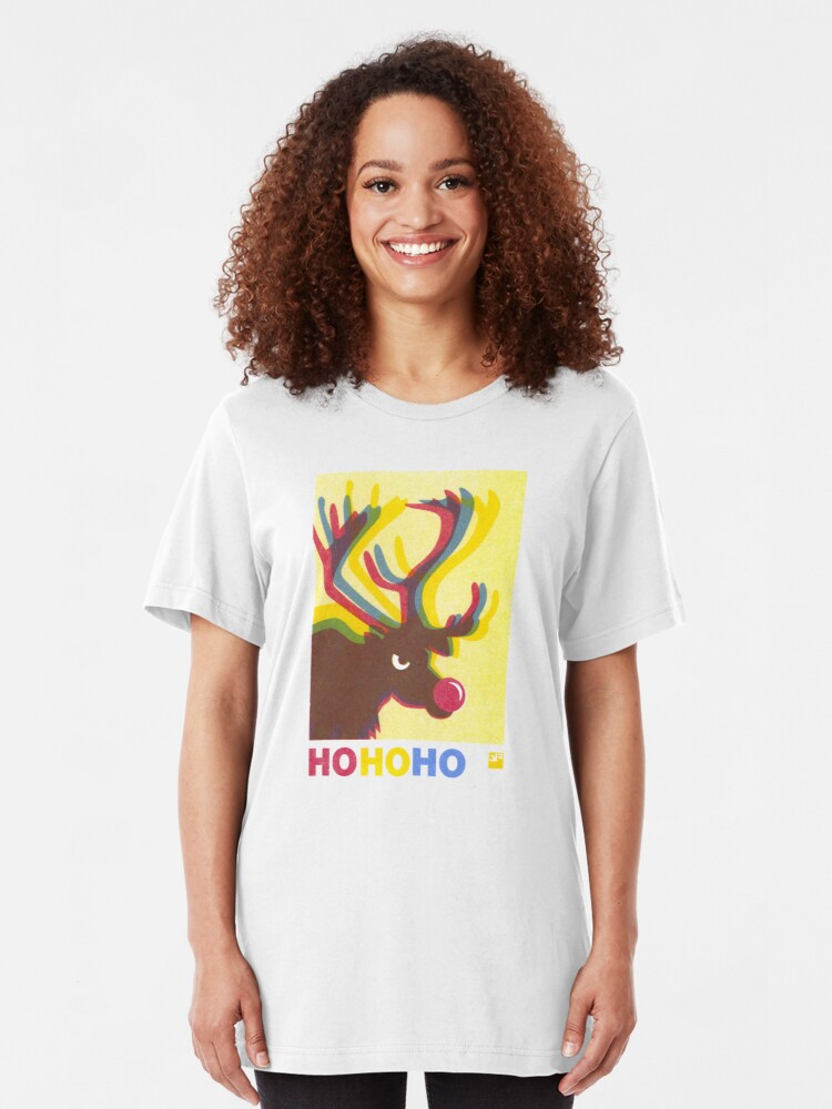 Alternate view of Angry Animals: Rudolph HO HO HO Slim Fit T-Shirt