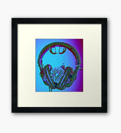 """mirrorball headphones"" Framed Print"