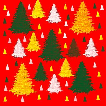 Gold green silver Christmas trees on red background  by katerina-ez