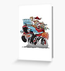 Hot Rod Santa Christmas Cartoon Greeting Card
