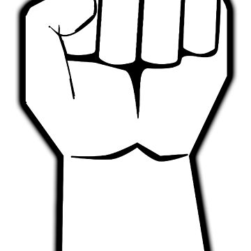 FIST, WHITE, black outline by TOMSREDBUBBLE