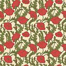 Rote Mohnblumen Muster von Viktoriia