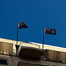 Two Flags Above Tattersalls Club - Brisbane by Aaron Holloway