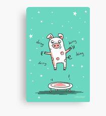 Glücksschweinchen Trampolin Workout Leinwanddruck