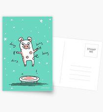 Glücksschweinchen Trampolin Workout Postkarten