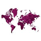 Deep Pink Wall Art World Map by Map-Your-World