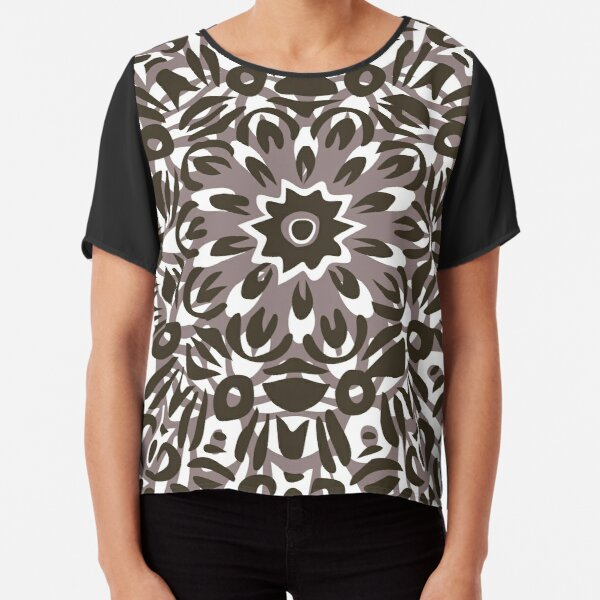 Grey, White & Black Flower Burst Mandala Chiffon Top