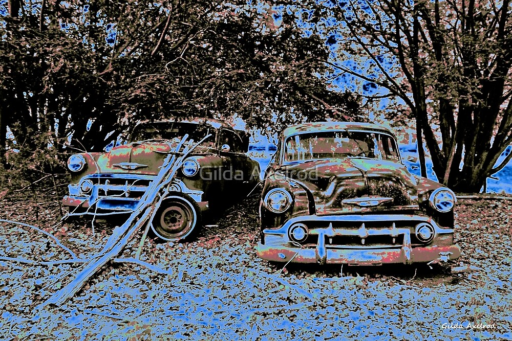 Vintage Decay in Red, White and Blue by Gilda Axelrod