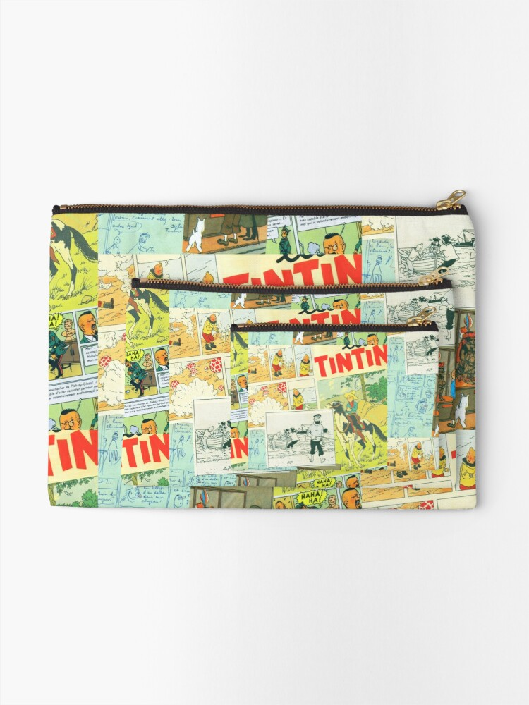 Alternate view of tintin collage 3 Zipper Pouch