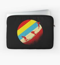 Retro skier mountains winter sports skis Laptop Sleeve
