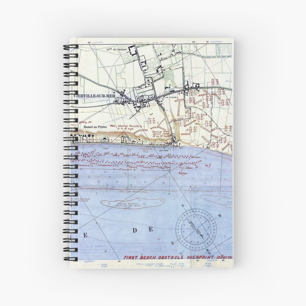Vintage Map of The Omaha Beach Landings (1944) Spiral Notebook