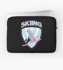 Skier Winter Sport Winter Sport Ski Skiing Retro Laptop Sleeve
