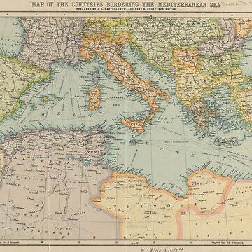 Vintage Map of The Mediterranean Sea (1912) by BravuraMedia
