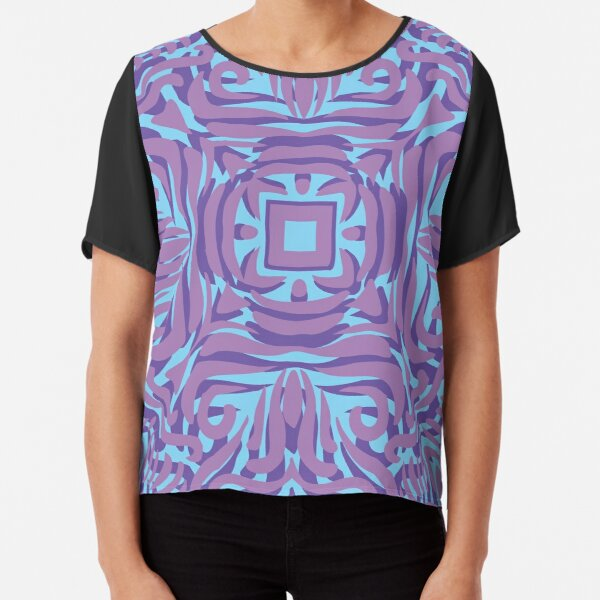 Purple, Pink & Pale Blue Swirly Mandala  Chiffon Top