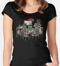 Robot Dogs Playing Poker Women's Fitted Scoop T-Shirt