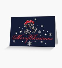 Merry Christmas teddy bear Christmas snowflakes Greeting Card