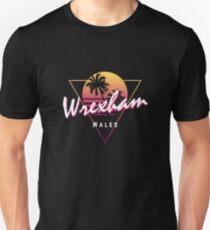 Funny 80s Retro Sunset 'Wrexham' Wales Unisex T-Shirt