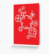 Meshing Gears (red) Greeting Card
