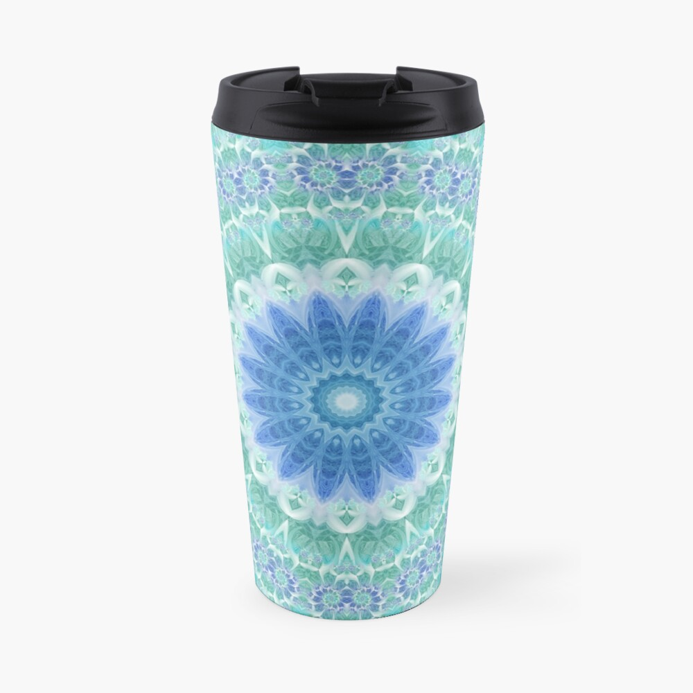 Blue and Turquoise Mandala Travel Mug