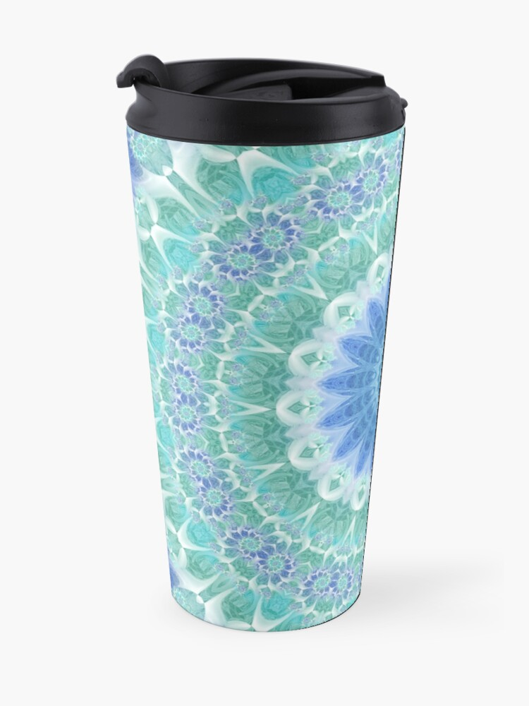 Alternate view of Blue and Turquoise Mandala Travel Mug